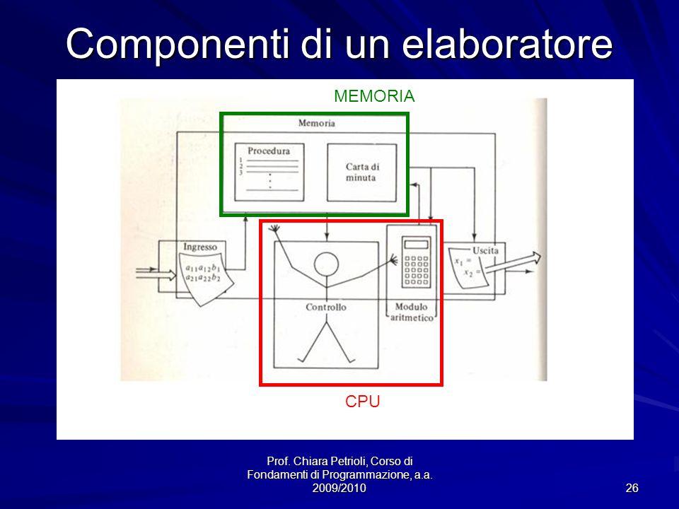 Prof. Chiara Petrioli, Corso di Fondamenti di Programmazione, a.a. 2009/2010 26 Componenti di un elaboratore CPU MEMORIA