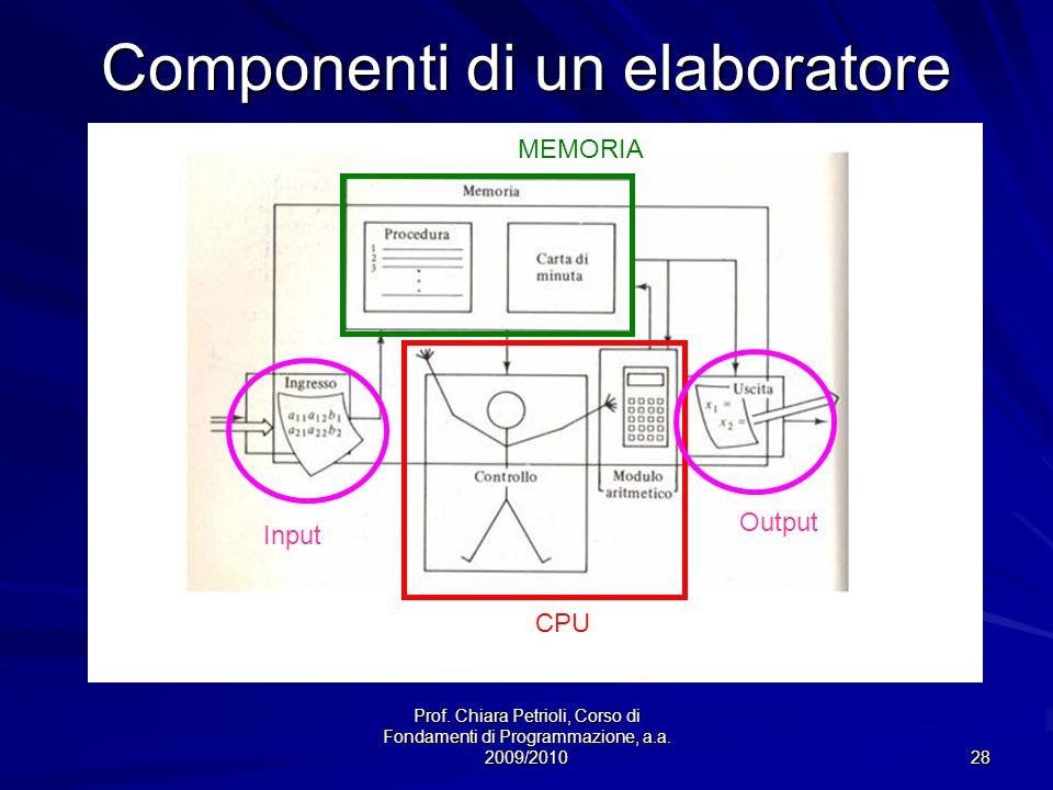 Prof. Chiara Petrioli, Corso di Fondamenti di Programmazione, a.a. 2009/2010 28 Componenti di un elaboratore CPU MEMORIA Input Output