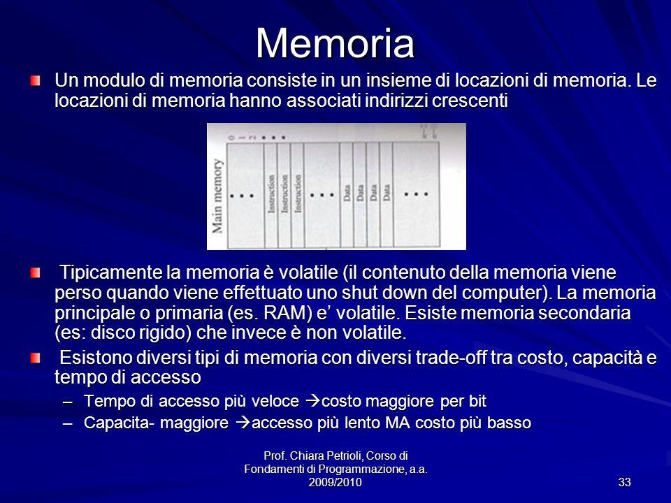 Prof. Chiara Petrioli, Corso di Fondamenti di Programmazione, a.a. 2009/2010 33Memoria Un modulo di memoria consiste in un insieme di locazioni di mem
