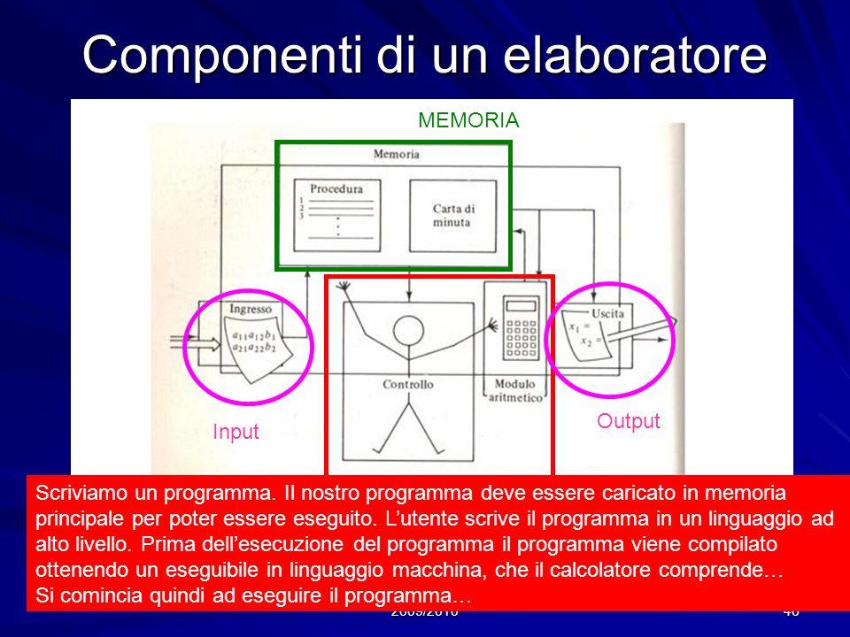 Prof. Chiara Petrioli, Corso di Fondamenti di Programmazione, a.a. 2009/2010 46 Componenti di un elaboratore CPU MEMORIA Input Output Scriviamo un pro