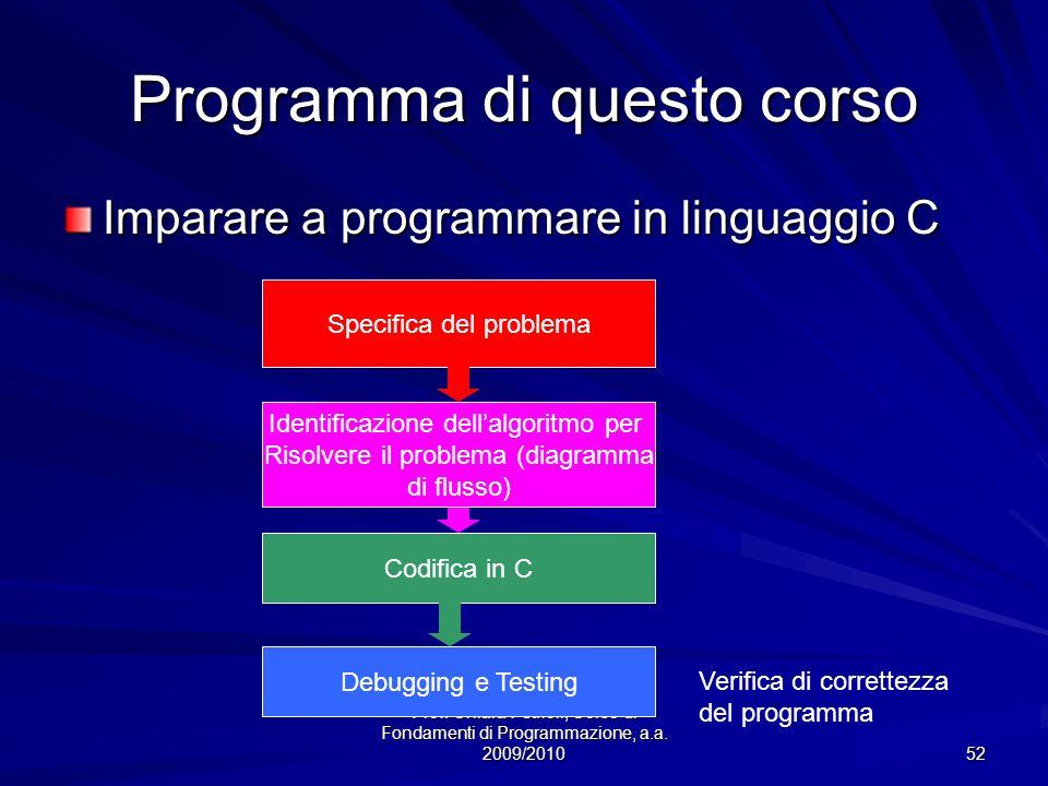 Prof. Chiara Petrioli, Corso di Fondamenti di Programmazione, a.a. 2009/2010 52 Programma di questo corso Imparare a programmare in linguaggio C Speci