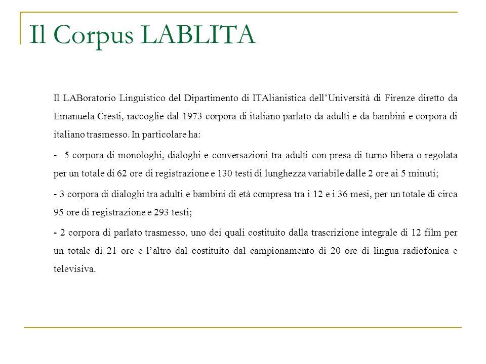 Il Corpus LABLITA Il LABoratorio Linguistico del Dipartimento di ITAlianistica dellUniversità di Firenze diretto da Emanuela Cresti, raccoglie dal 197
