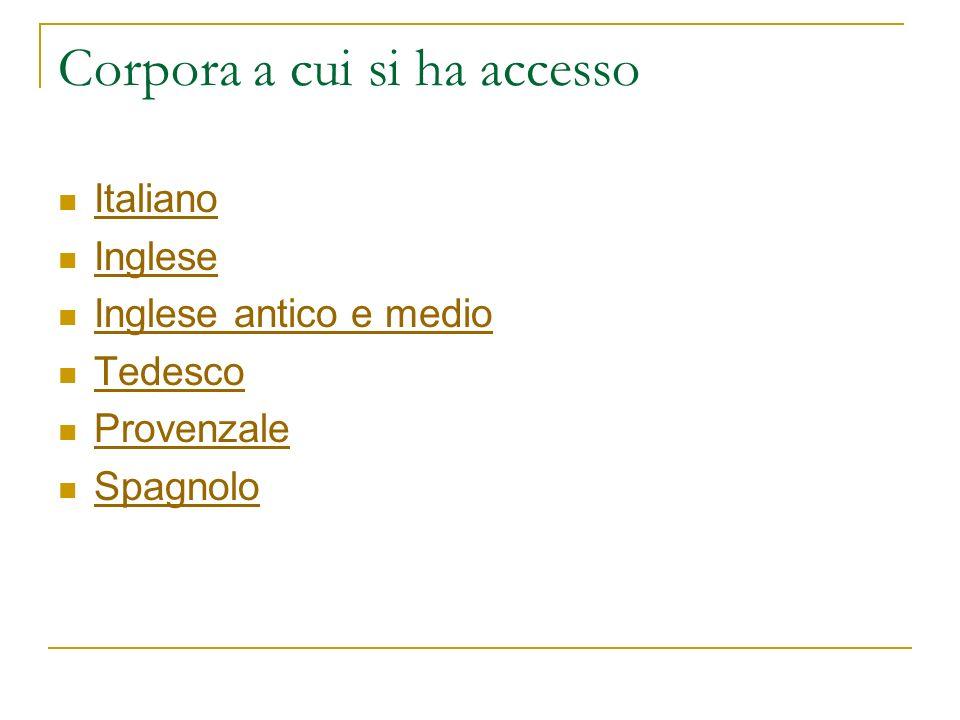 Corpora a cui si ha accesso Italiano Inglese Inglese antico e medio Tedesco Provenzale Spagnolo