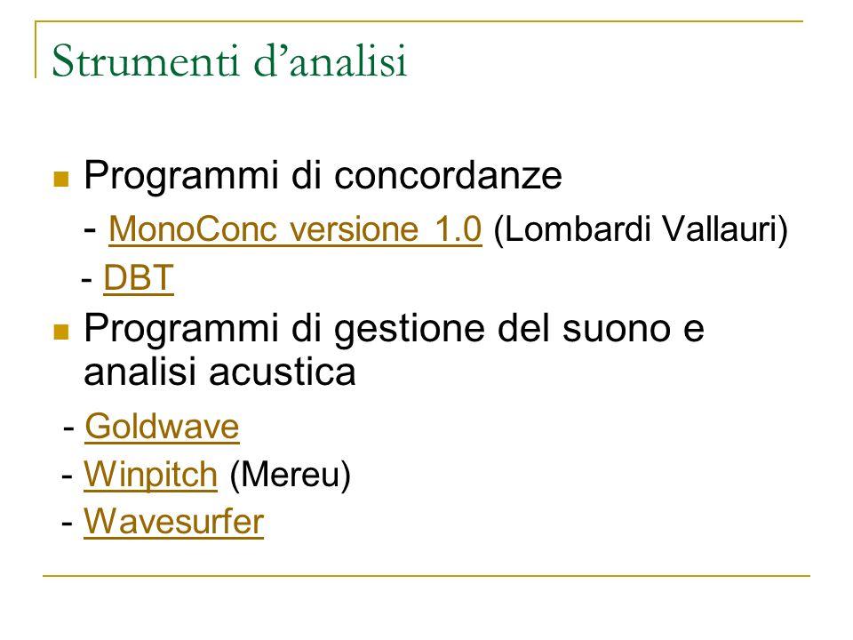 Strumenti danalisi Programmi di concordanze - MonoConc versione 1.0 (Lombardi Vallauri) MonoConc versione 1.0 - DBTDBT Programmi di gestione del suono