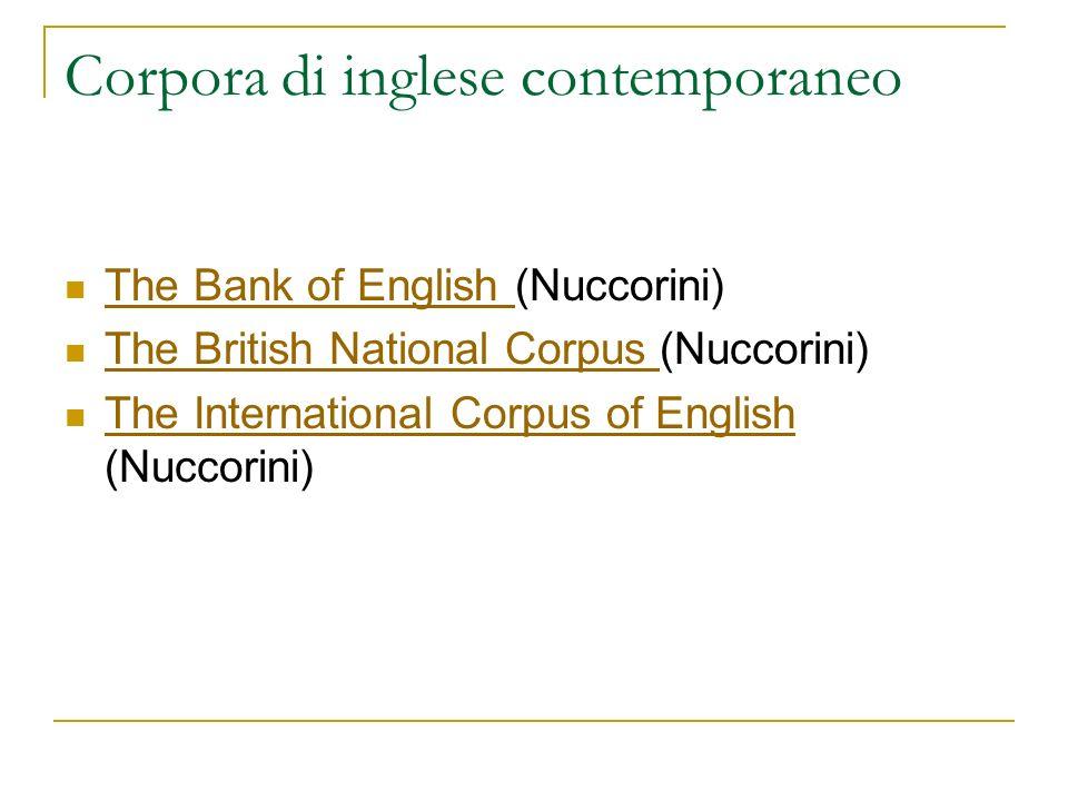 Corpora di inglese contemporaneo The Bank of English (Nuccorini) The Bank of English The British National Corpus (Nuccorini) The British National Corp