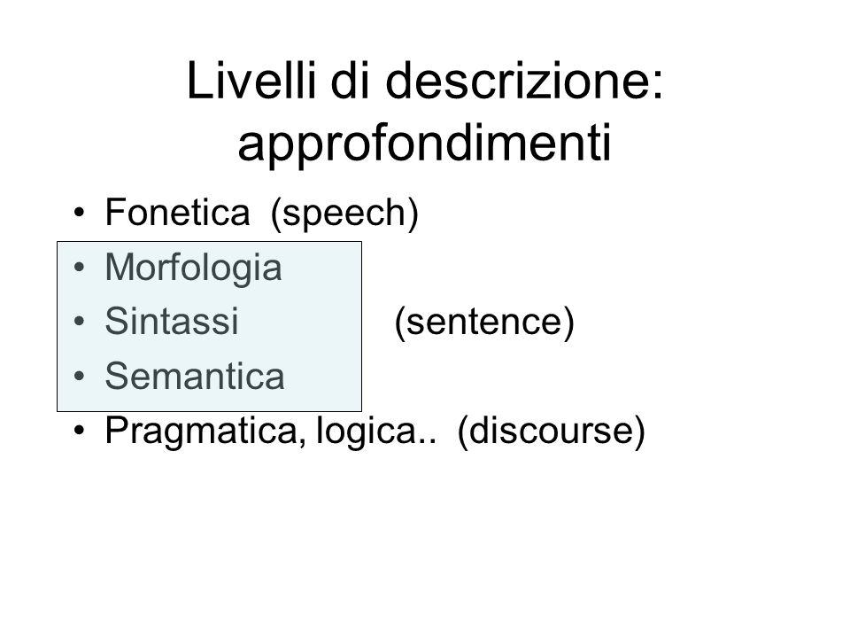 Livelli di descrizione: approfondimenti Fonetica (speech) Morfologia Sintassi (sentence) Semantica Pragmatica, logica.. (discourse)