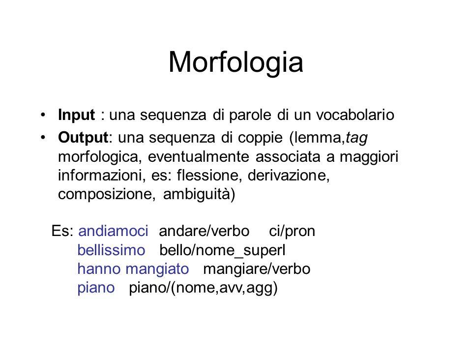 Morfologia Input : una sequenza di parole di un vocabolario Output: una sequenza di coppie (lemma,tag morfologica, eventualmente associata a maggiori