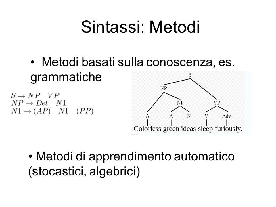 Sintassi: Metodi Metodi basati sulla conoscenza, es. grammatiche Metodi di apprendimento automatico (stocastici, algebrici)