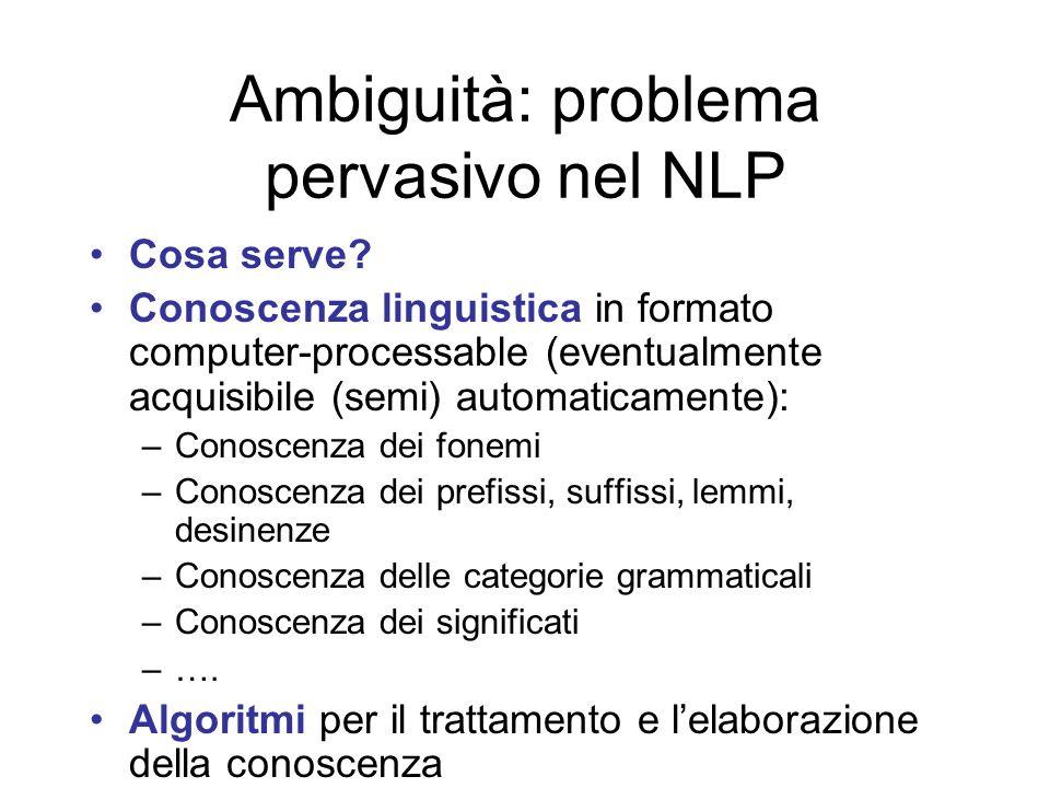 Ambiguità: problema pervasivo nel NLP Cosa serve? Conoscenza linguistica in formato computer-processable (eventualmente acquisibile (semi) automaticam