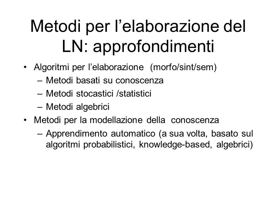 Metodi per lelaborazione del LN: approfondimenti Algoritmi per lelaborazione (morfo/sint/sem) –Metodi basati su conoscenza –Metodi stocastici /statist