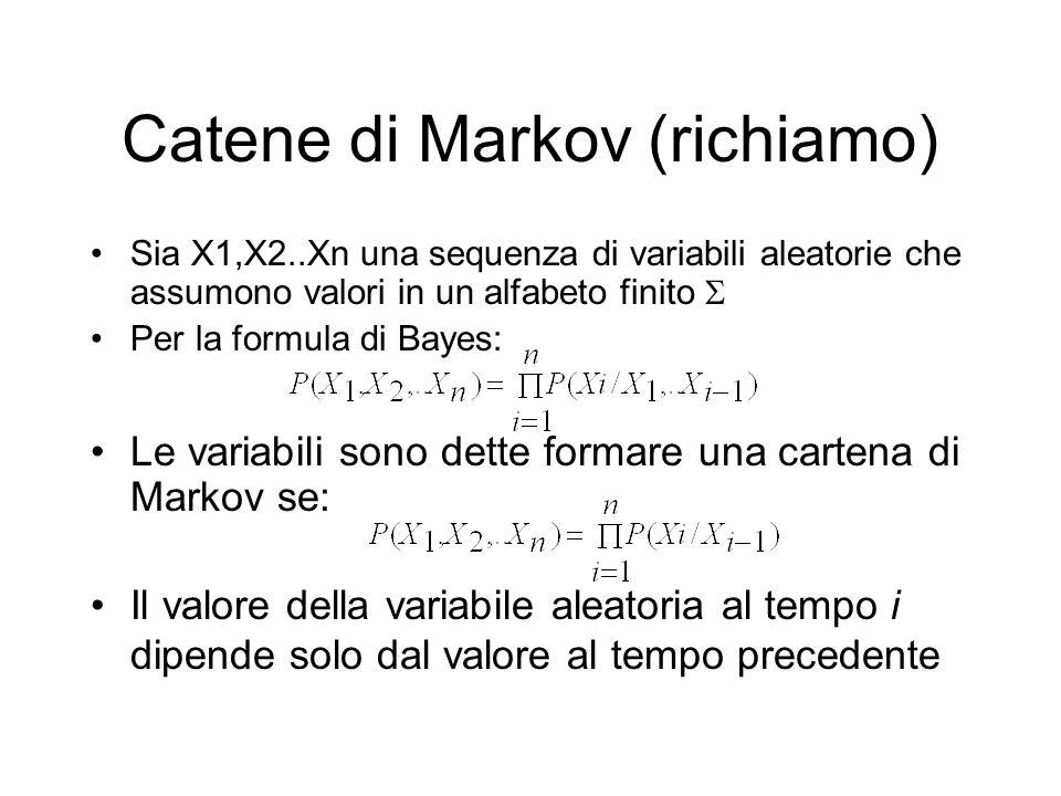 Catene di Markov (richiamo) Sia X1,X2..Xn una sequenza di variabili aleatorie che assumono valori in un alfabeto finito Per la formula di Bayes: Le va