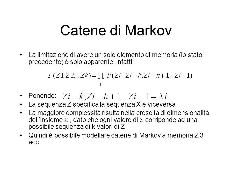 Catene di Markov La limitazione di avere un solo elemento di memoria (lo stato precedente) è solo apparente, infatti: Ponendo: La sequenza Z specifica