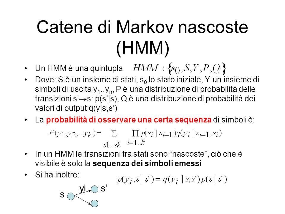 Catene di Markov nascoste (HMM) Un HMM è una quintupla Dove: S è un insieme di stati, s 0 lo stato iniziale, Y un insieme di simboli di uscita y 1..y