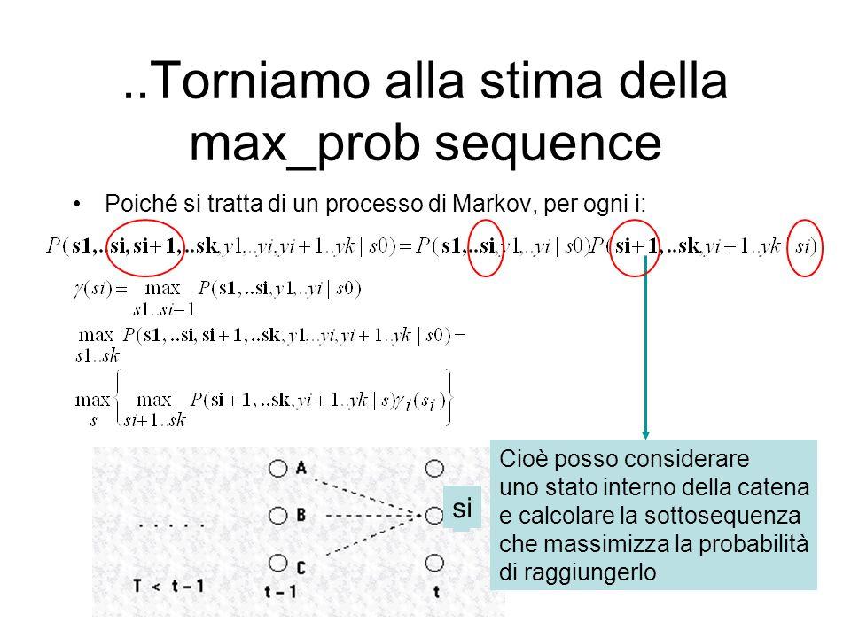 ..Torniamo alla stima della max_prob sequence Poiché si tratta di un processo di Markov, per ogni i: Cioè posso considerare uno stato interno della ca