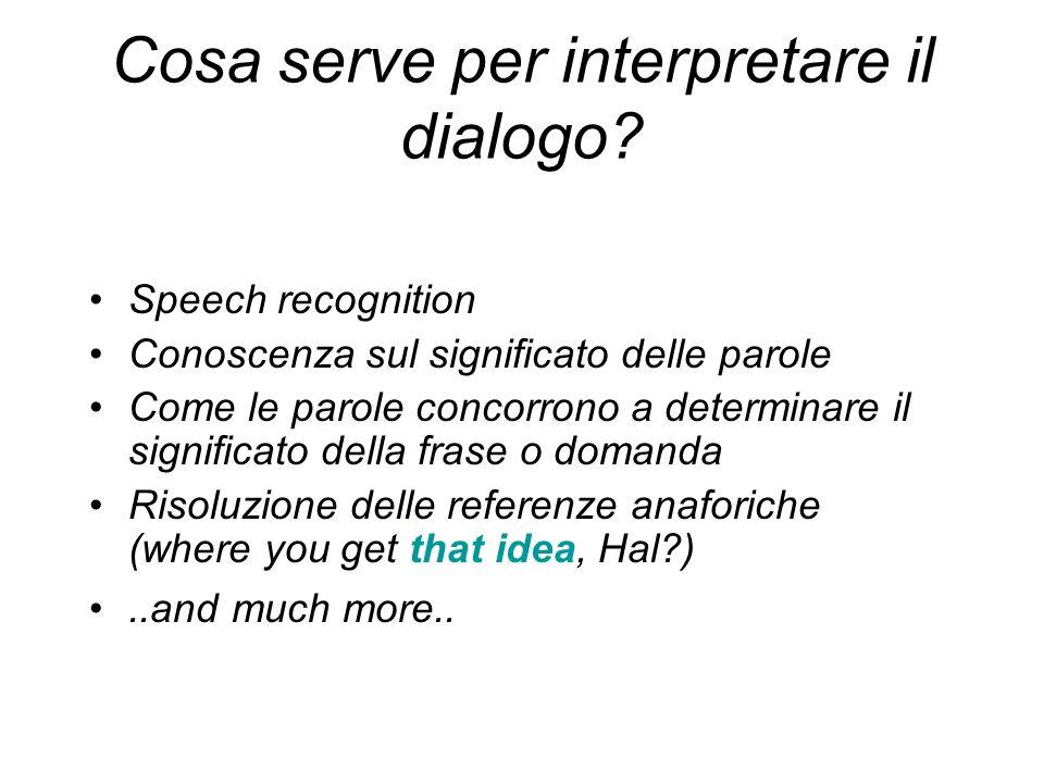 Cosa serve per interpretare il dialogo? Speech recognition Conoscenza sul significato delle parole Come le parole concorrono a determinare il signific