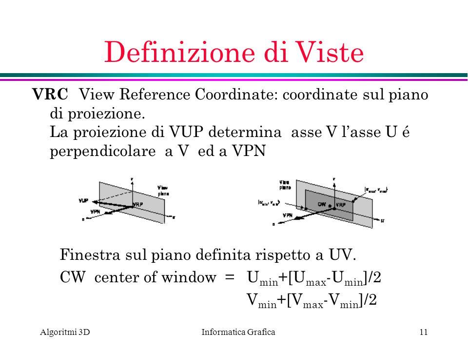 Informatica Grafica Algoritmi 3D11 Finestra sul piano definita rispetto a UV. CW center of window =U min +[U max -U min ]/2 V min +[V max -V min ]/2 D