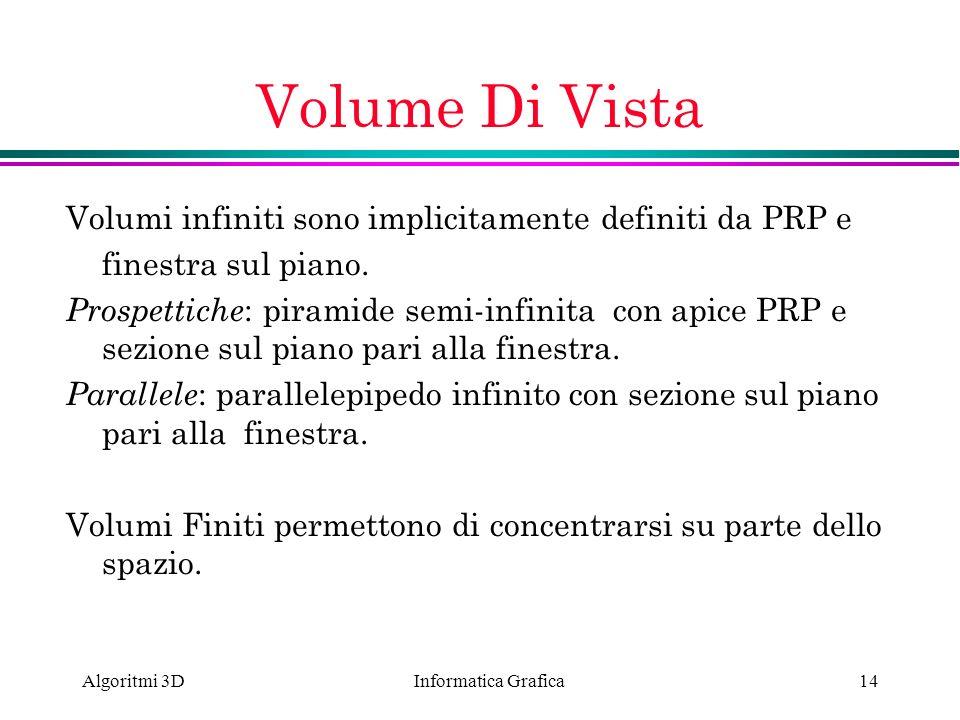 Informatica Grafica Algoritmi 3D14 Volume Di Vista Volumi infiniti sono implicitamente definiti da PRP e finestra sul piano. Prospettiche : piramide s