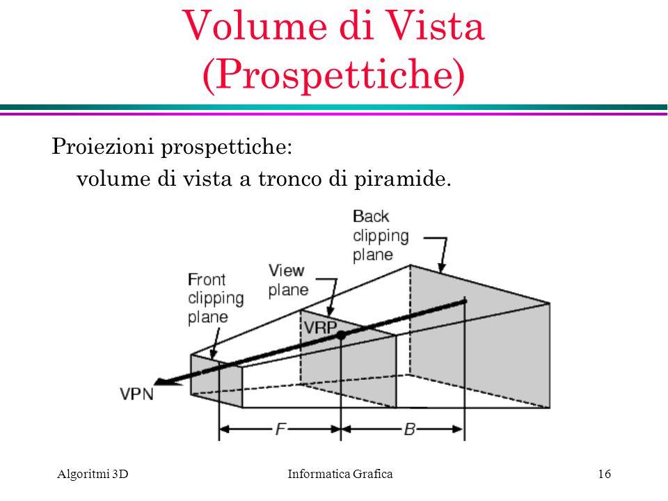 Informatica Grafica Algoritmi 3D16 Volume di Vista (Prospettiche) Proiezioni prospettiche: volume di vista a tronco di piramide.