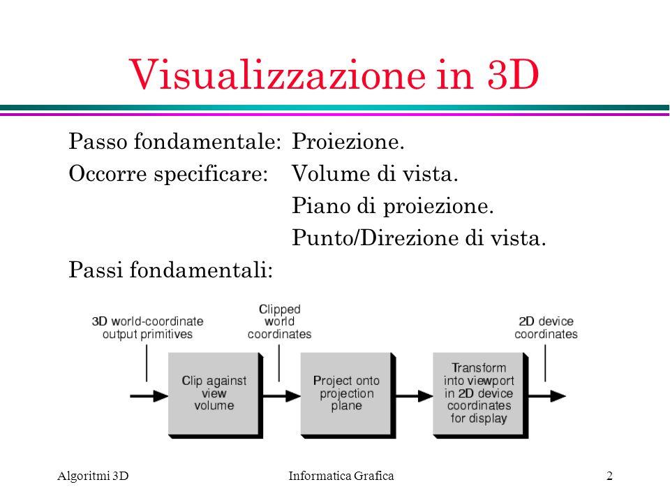 Informatica Grafica Algoritmi 3D2 Visualizzazione in 3D Passo fondamentale: Proiezione. Occorre specificare:Volume di vista. Piano di proiezione. Punt