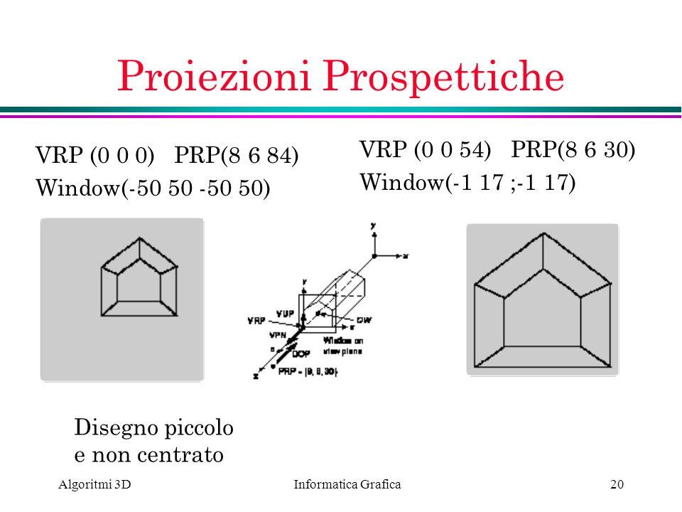 Informatica Grafica Algoritmi 3D20 Proiezioni Prospettiche VRP (0 0 0) PRP(8 6 84) Window(-50 50 -50 50) Disegno piccolo e non centrato VRP (0 0 54) P