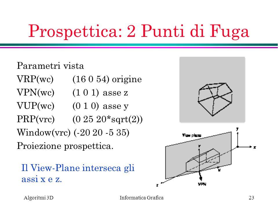 Informatica Grafica Algoritmi 3D23 Prospettica: 2 Punti di Fuga Parametri vista VRP(wc) (16 0 54) origine VPN(wc)(1 0 1) asse z VUP(wc)(0 1 0) asse y
