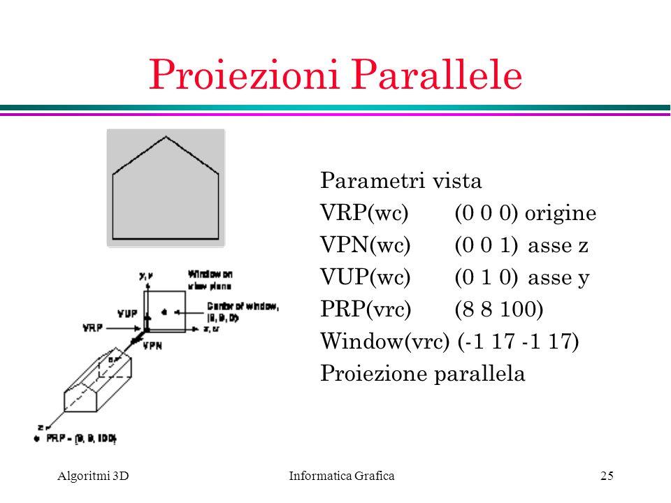 Informatica Grafica Algoritmi 3D25 Proiezioni Parallele Parametri vista VRP(wc) (0 0 0) origine VPN(wc)(0 0 1) asse z VUP(wc)(0 1 0) asse y PRP(vrc)(8