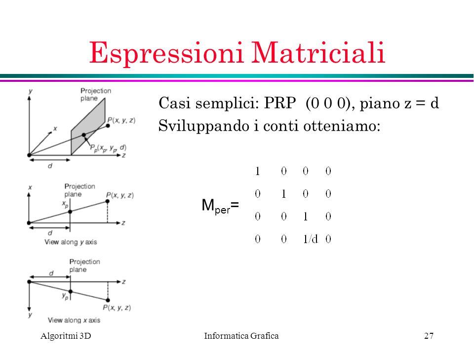 Informatica Grafica Algoritmi 3D27 Espressioni Matriciali Casi semplici: PRP (0 0 0), piano z = d Sviluppando i conti otteniamo: M per =