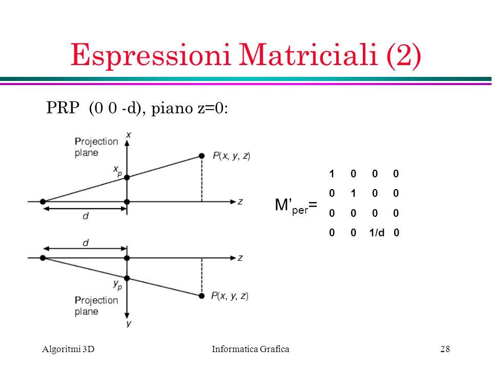 Informatica Grafica Algoritmi 3D28 Espressioni Matriciali (2) PRP (0 0 -d), piano z=0: M per = 1 0 0 0 0 1 0 0 0 0 0 0 1/d 0