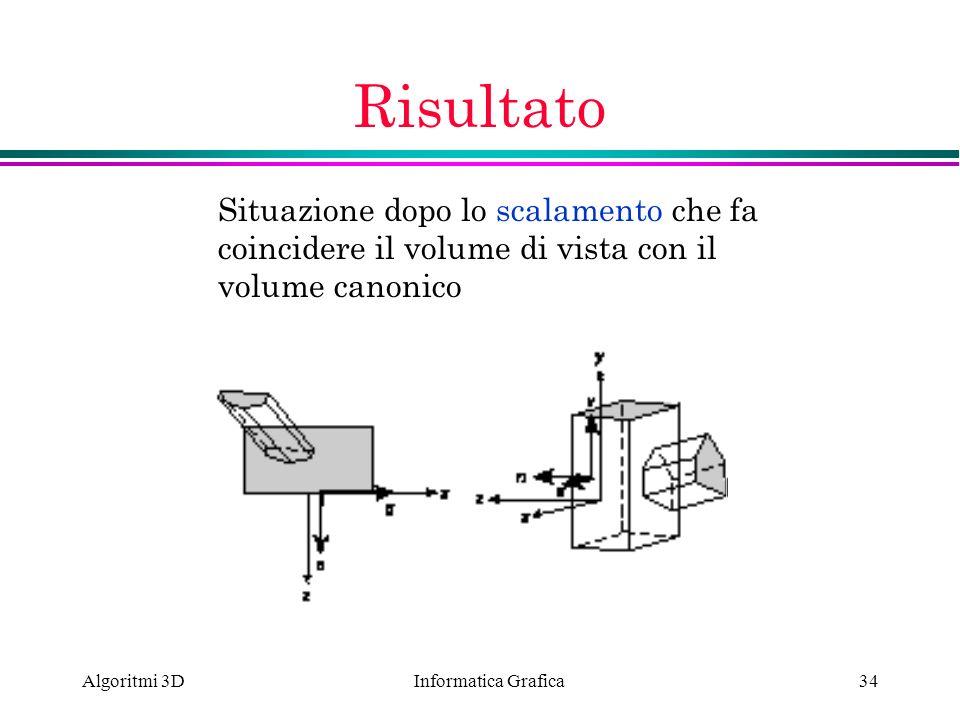 Informatica Grafica Algoritmi 3D34 Risultato Situazione dopo lo scalamento che fa coincidere il volume di vista con il volume canonico