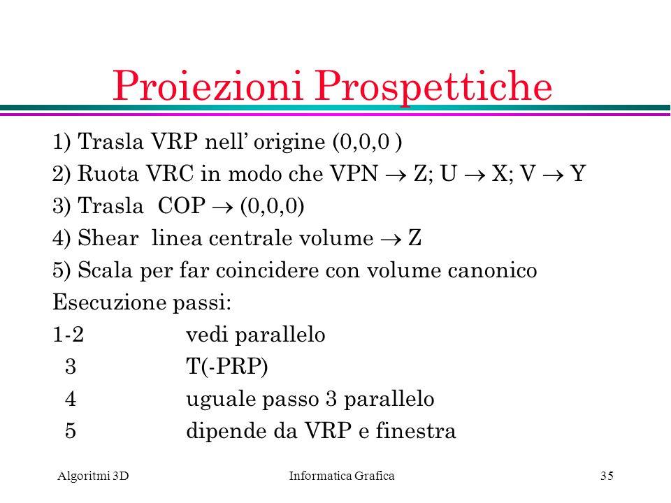 Informatica Grafica Algoritmi 3D35 Proiezioni Prospettiche 1) Trasla VRP nell origine (0,0,0 ) 2) Ruota VRC in modo che VPN Z; U X; V Y 3) Trasla COP