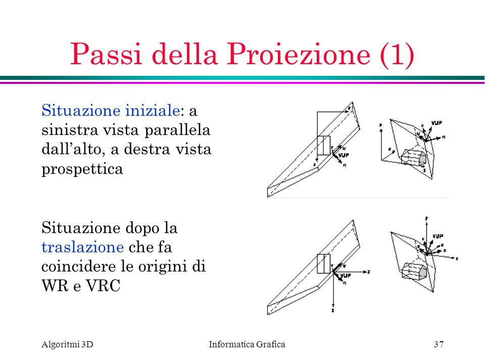Informatica Grafica Algoritmi 3D37 Passi della Proiezione (1) Situazione iniziale: a sinistra vista parallela dallalto, a destra vista prospettica Sit