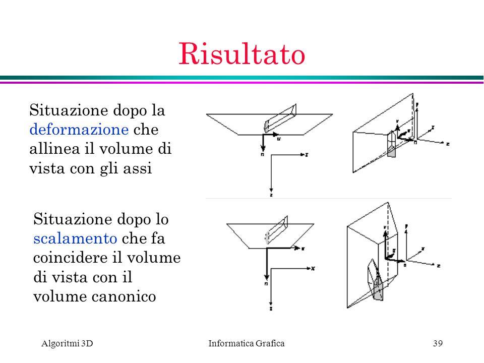 Informatica Grafica Algoritmi 3D39 Risultato Situazione dopo la deformazione che allinea il volume di vista con gli assi Situazione dopo lo scalamento