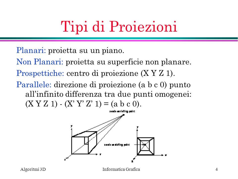 Informatica Grafica Algoritmi 3D4 Tipi di Proiezioni Planari: proietta su un piano. Non Planari: proietta su superficie non planare. Prospettiche: cen