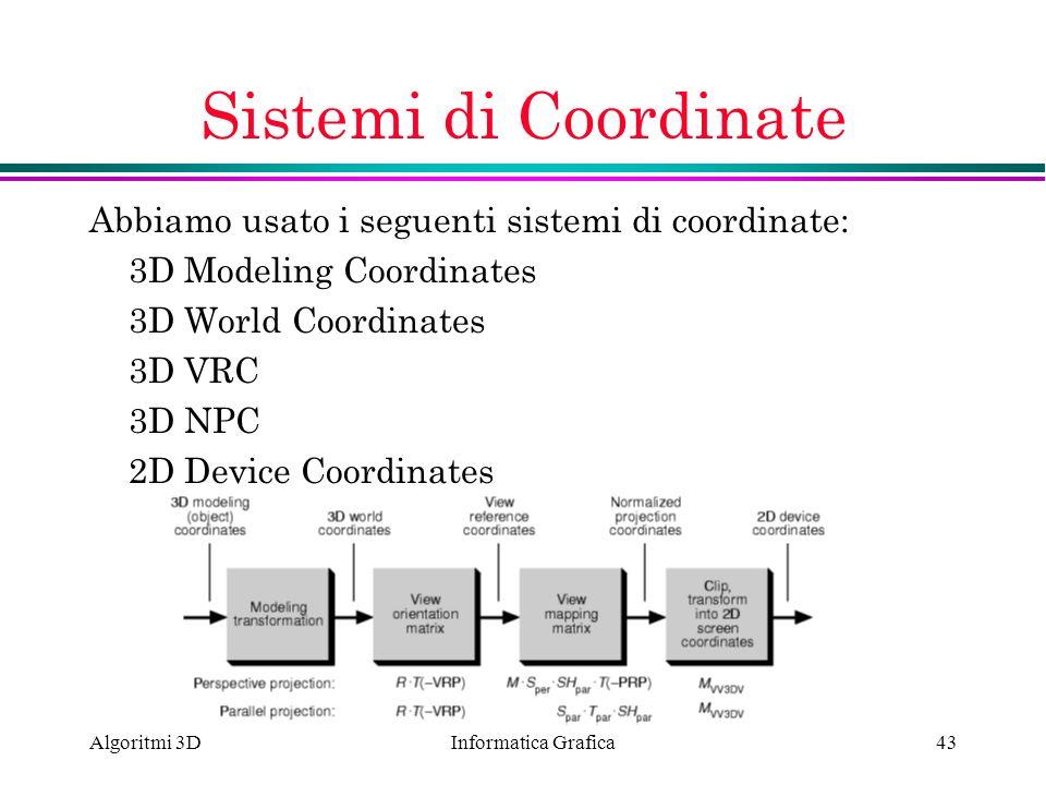 Informatica Grafica Algoritmi 3D43 Sistemi di Coordinate Abbiamo usato i seguenti sistemi di coordinate: 3D Modeling Coordinates 3D World Coordinates