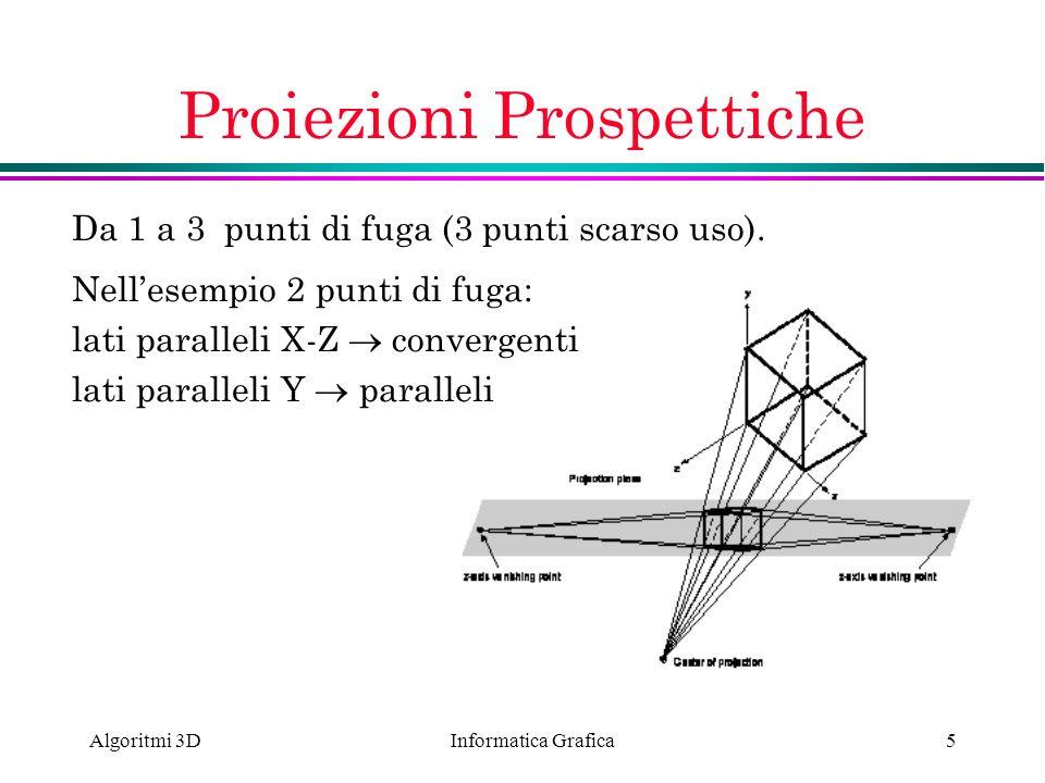 Informatica Grafica Algoritmi 3D5 Proiezioni Prospettiche Da 1 a 3 punti di fuga (3 punti scarso uso). Nellesempio 2 punti di fuga: lati paralleli X-Z