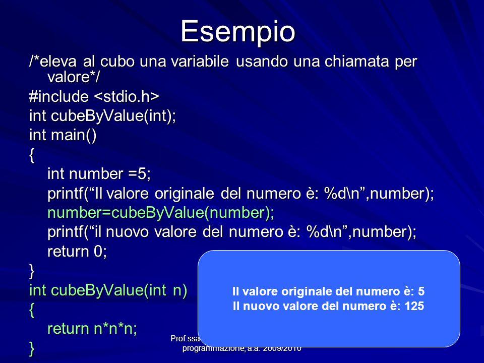 Prof.ssa Chiara Petrioli -- Fondamenti di programmazione, a.a. 2009/2010Esempio /*eleva al cubo una variabile usando una chiamata per valore*/ #includ