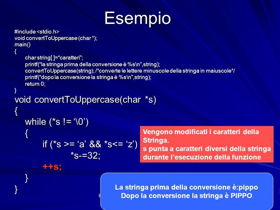 Prof.ssa Chiara Petrioli -- Fondamenti di programmazione, a.a. 2009/2010Esempio #include #include void convertToUppercase (char *); main(){ char strin