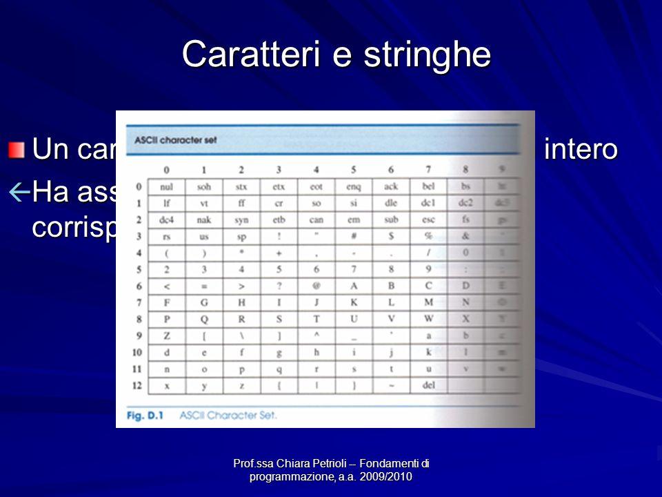 Prof.ssa Chiara Petrioli -- Fondamenti di programmazione, a.a. 2009/2010 Caratteri e stringhe Un carattere può essere visto come un intero Ha associat