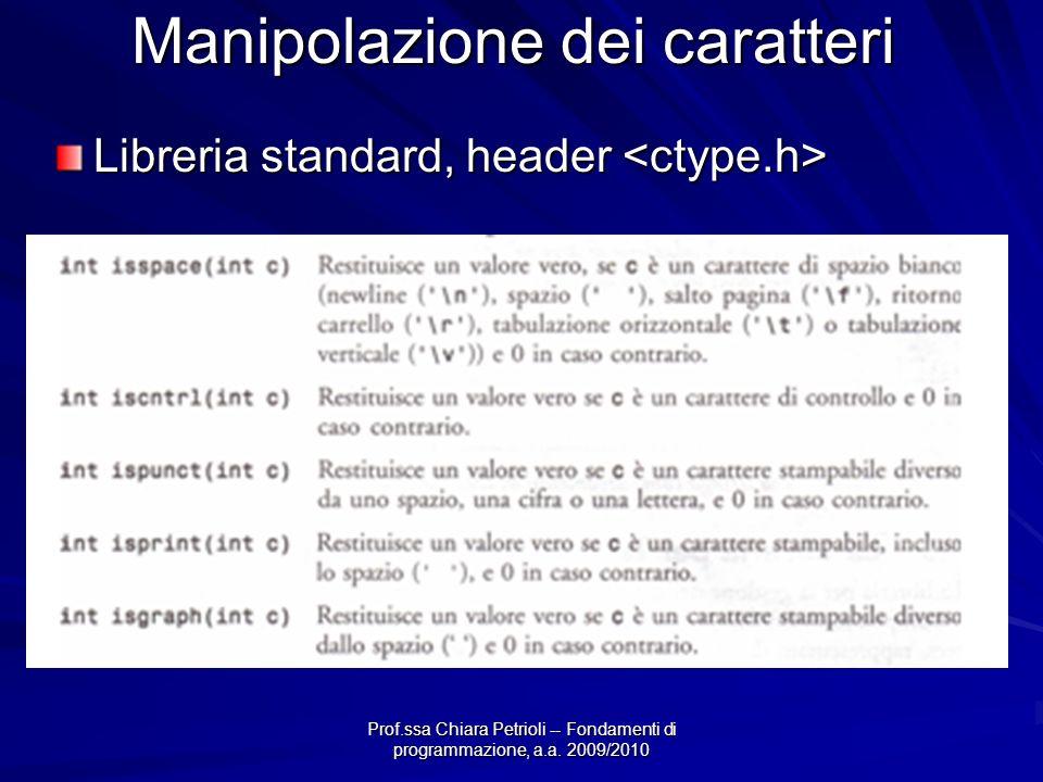 Prof.ssa Chiara Petrioli -- Fondamenti di programmazione, a.a. 2009/2010 Manipolazione dei caratteri Libreria standard, header Libreria standard, head