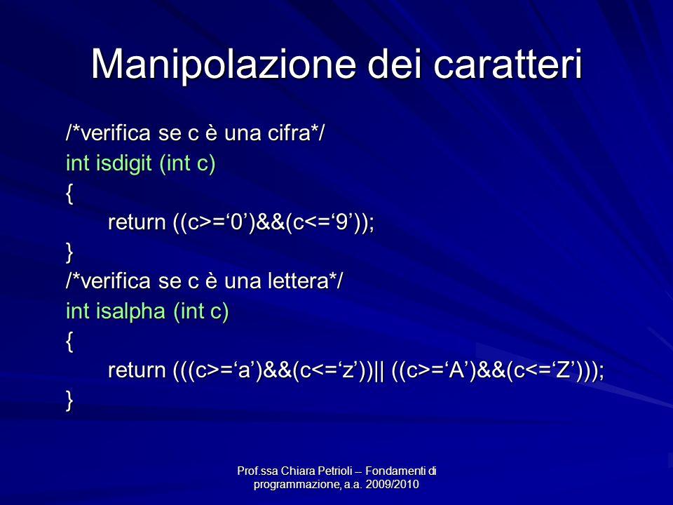 Prof.ssa Chiara Petrioli -- Fondamenti di programmazione, a.a. 2009/2010 Manipolazione dei caratteri /*verifica se c è una cifra*/ int isdigit (int c)