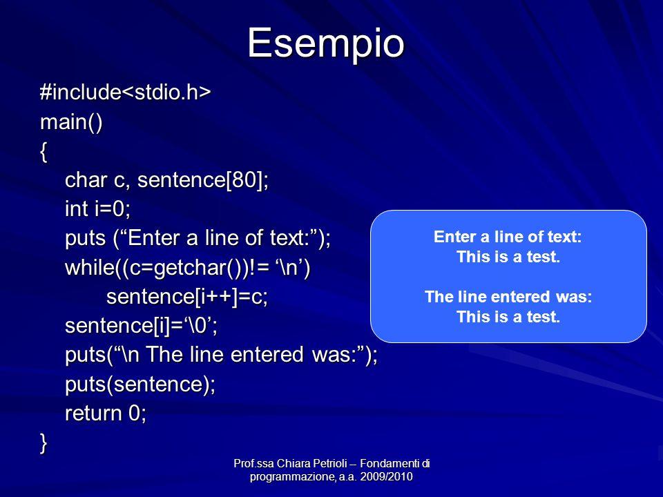 Prof.ssa Chiara Petrioli -- Fondamenti di programmazione, a.a. 2009/2010Esempio#include<stdio.h>main(){ char c, sentence[80]; int i=0; puts (Enter a l