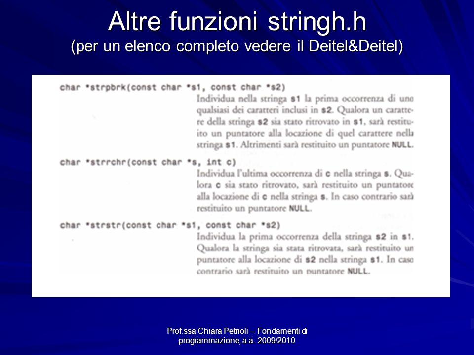Prof.ssa Chiara Petrioli -- Fondamenti di programmazione, a.a. 2009/2010 Altre funzioni stringh.h (per un elenco completo vedere il Deitel&Deitel)
