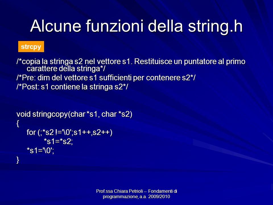 Prof.ssa Chiara Petrioli -- Fondamenti di programmazione, a.a. 2009/2010 Alcune funzioni della string.h /*copia la stringa s2 nel vettore s1. Restitui