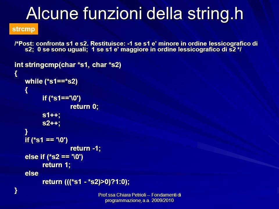 Prof.ssa Chiara Petrioli -- Fondamenti di programmazione, a.a. 2009/2010 /*Post: confronta s1 e s2. Restituisce: -1 se s1 e' minore in ordine lessicog
