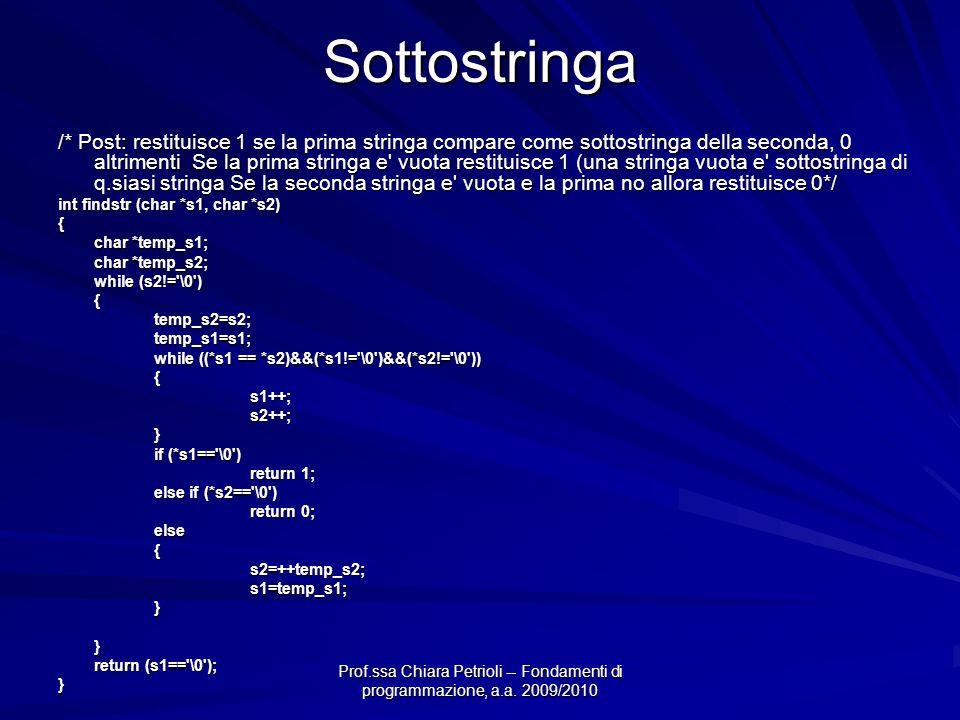 Prof.ssa Chiara Petrioli -- Fondamenti di programmazione, a.a. 2009/2010Sottostringa /* Post: restituisce 1 se la prima stringa compare come sottostri