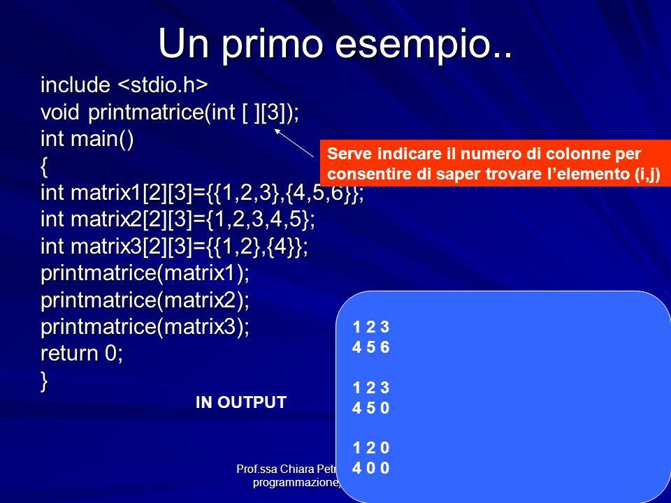 Prof.ssa Chiara Petrioli -- Fondamenti di programmazione, a.a. 2009/2010 Un primo esempio.. include include void printmatrice(int [ ][3]); int main()