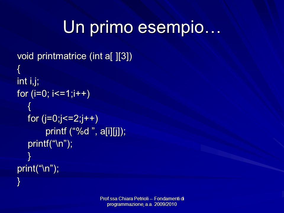 Prof.ssa Chiara Petrioli -- Fondamenti di programmazione, a.a. 2009/2010 Un primo esempio… void printmatrice (int a[ ][3]) { int i,j; for (i=0; i<=1;i
