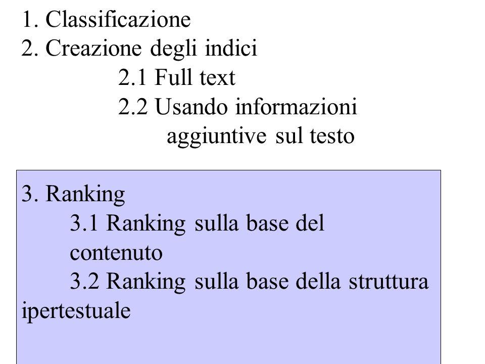 Ranking I metodi di ranking usati dai motori di ricerca sono top- secret I metodi più usati sono il modello vettoriale e booleano La maggioranza dei motori utilizzano per il ranking anche gli hyperlinks.