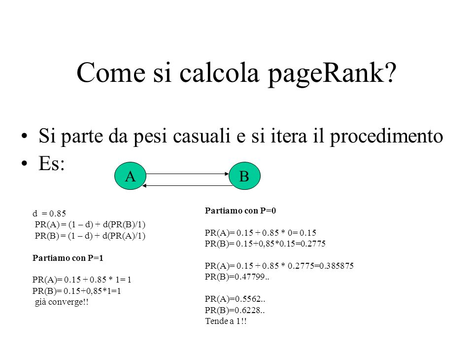 Come si calcola pageRank.