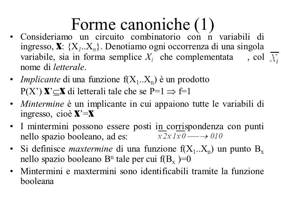 Forme canoniche (1) Consideriamo un circuito combinatorio con n variabili di ingresso, X : {X 1..X n }. Denotiamo ogni occorrenza di una singola varia